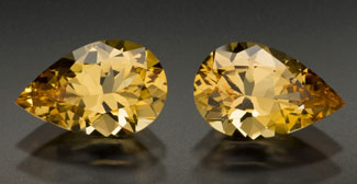 10608:  A lovely perfectly matche pair of Brazilian golden topaz.  Regular price:  $1,932.00.  Sale price:  $1,449.00.