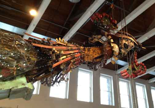 Head of The Phoenix.  The total length of this sculpture by Chinese artist Xu Bing is 110 feet.  The weight, 12 tons.